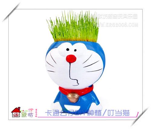 diy机器猫; 哆啦a梦 叮当猫机器猫 桌面舒压小植物 diy青草种植栽培